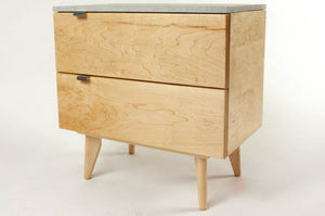 Delphinus - Two Drawers Maple Wood & Concrete Top Nightstand