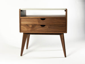 Black walnut & concrete top mid-century nightstand