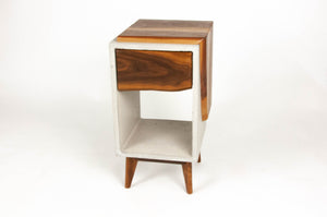 Nightstand in Concrete &  Live Edge Solid Wood Top / Side n' Drawer