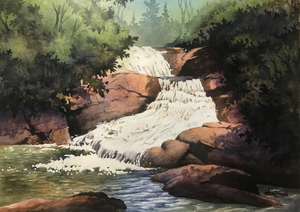 Watercolor paining of Bubbling Springs Falls by Eric Heinzman