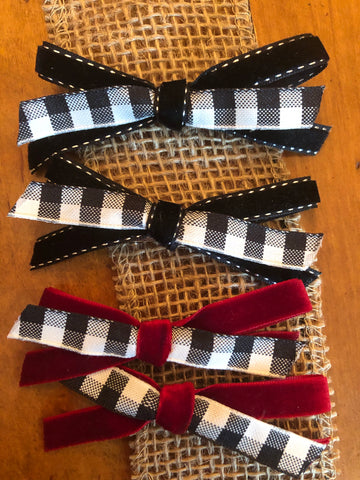 Velvet Gingham Bow Set