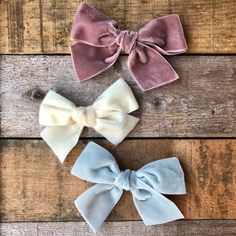 Velvet Bows (Headband OR Clip)