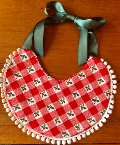 Vintage Holly Gingham Bib