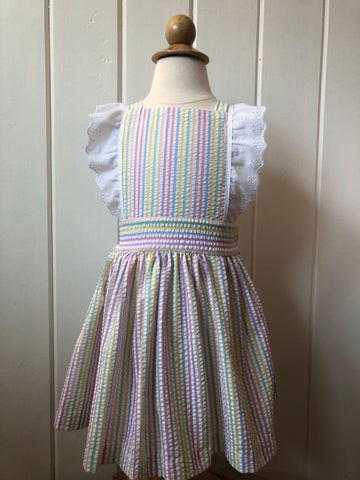 Rainbow Seersucker Pinafore