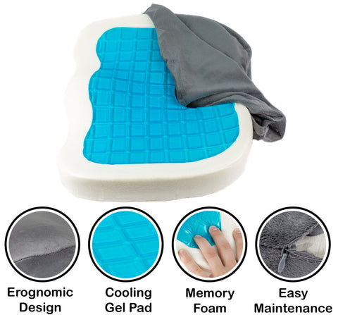 Orthopedic Gel & Memory Foam Coccyx Cushion for Back, Sciatica & Tailbone Pain Relief