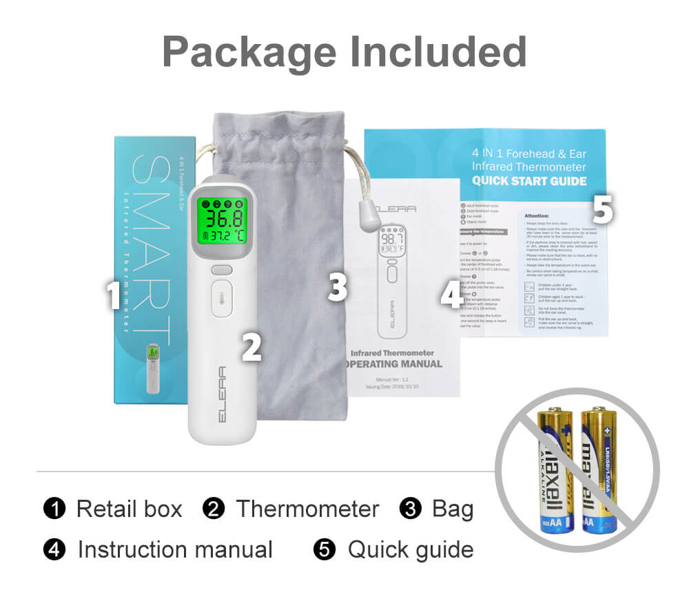 Package includes in the infrared Thermometer