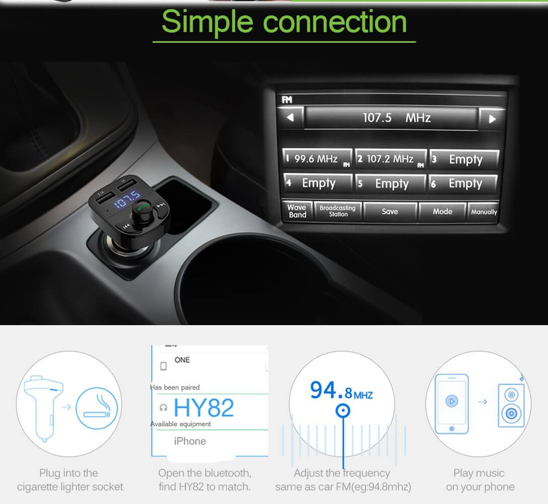 Wireless Car Bluetooth FM Transmitter with Quick Charge Dual USB and MP3  Player