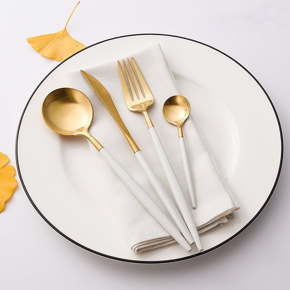 White/Gold Flatware 4-Piece Set