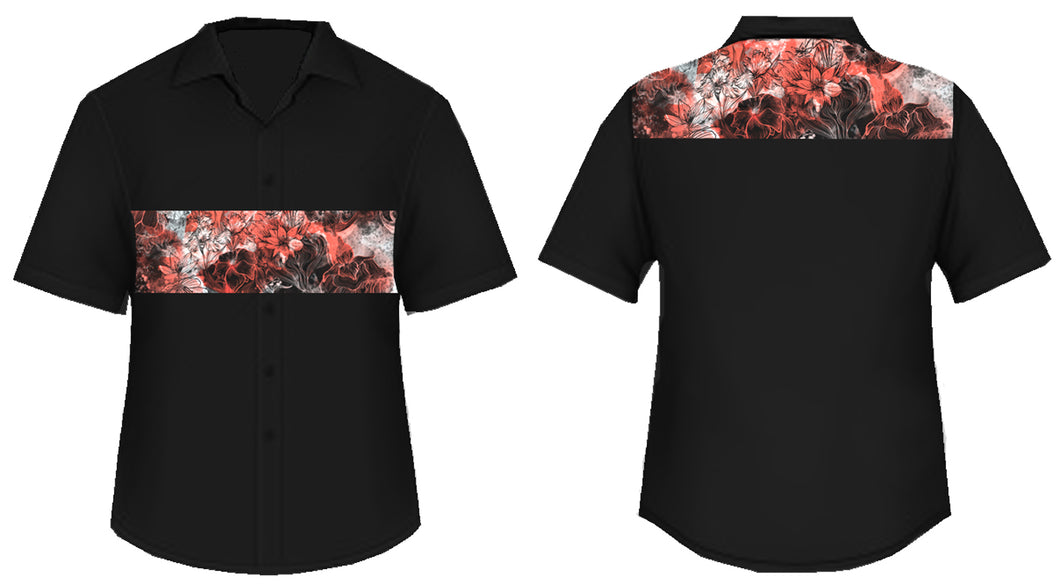 Floral Marble Button Down Polo