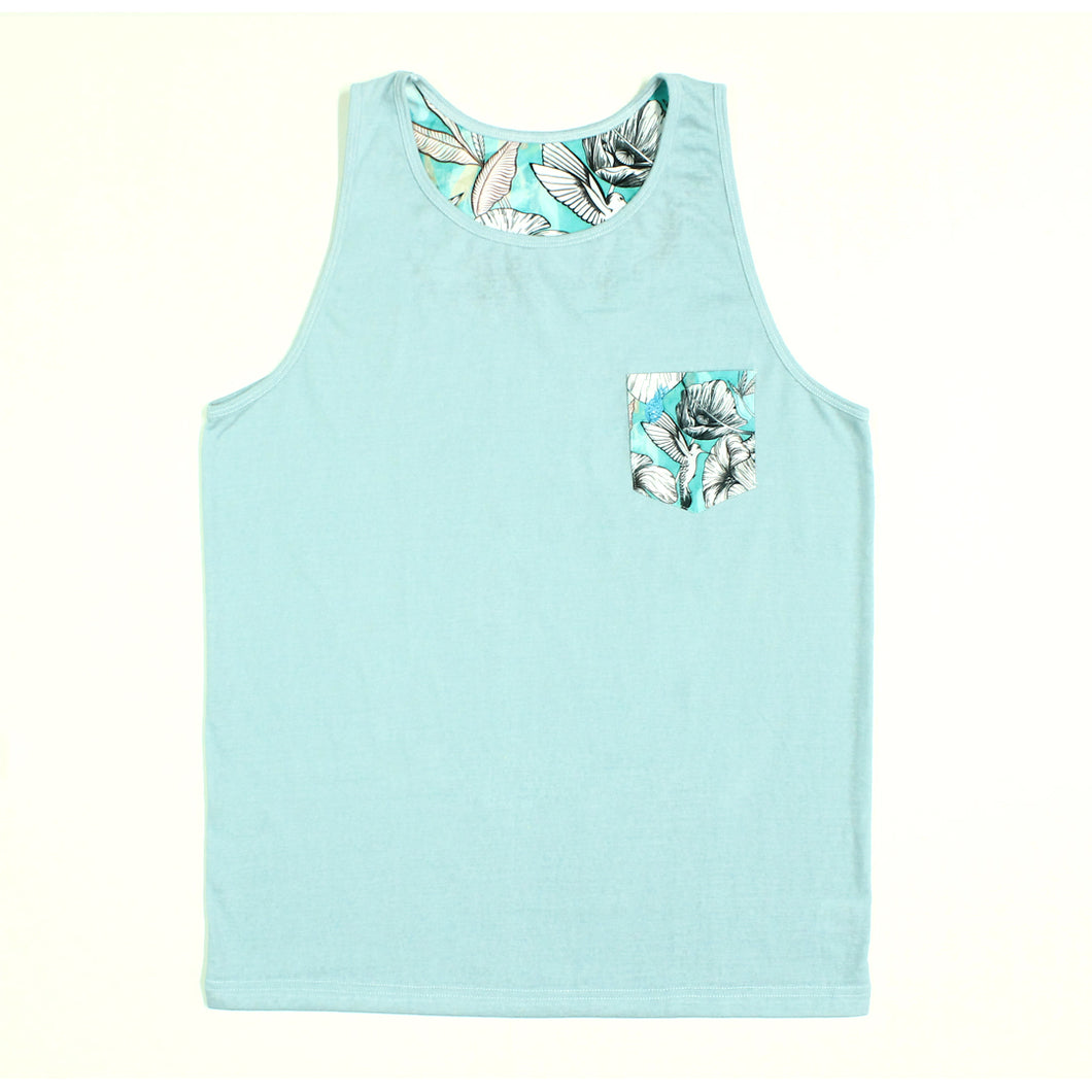 Blue Floral w/ Printed Pocket Tank Top