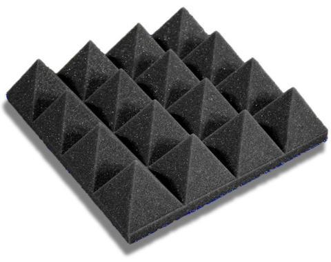 "Acoustic Foam 3"" Thick Charcoal Pyramid Style 4ft X 8ft Sheet ( 32 Sqft) - KINGDOM OF FABRICS"