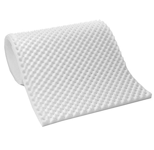 "1"" Convoluted Acoustic Foam White Egg Crate Panel Studio Soundproofing Foam Wall Panel 72"" X 18"" X 1"" - KINGDOM OF FABRICS"