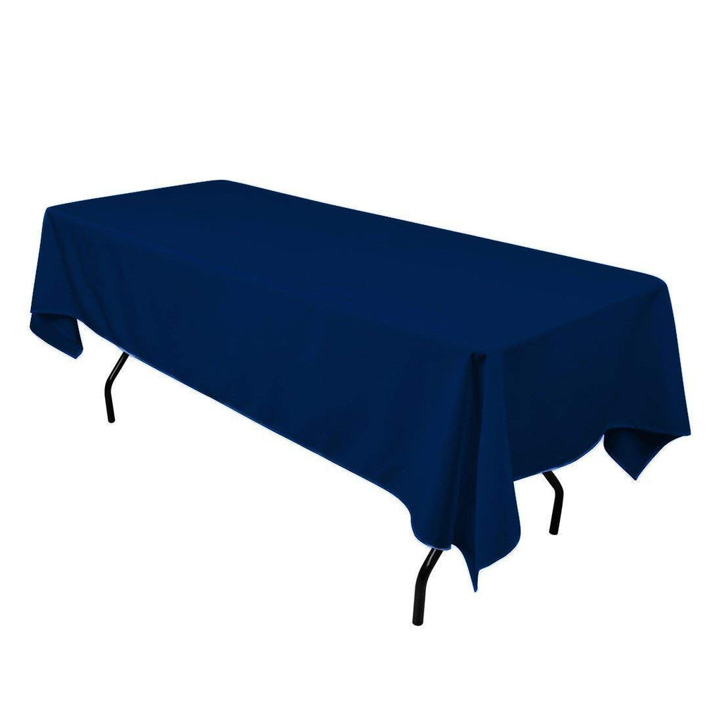 "Rectangle Tablecloth - 60 x 102"" Inch - Navy Blue Rectangular Table Cloth for 6 Foot Table in Washable Polyester - Great for Buffet Table, Parties, Holiday Dinner, Wedding & More"