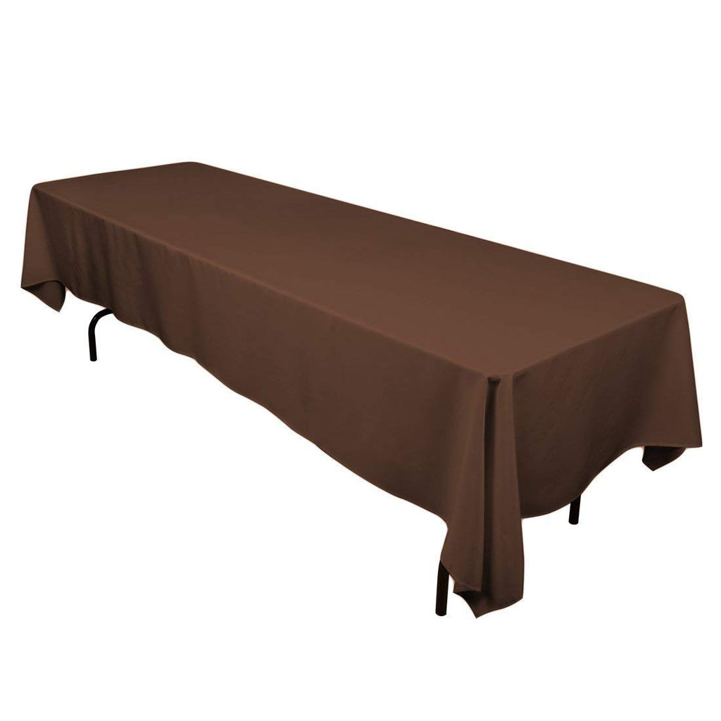"Rectangle Tablecloth - 60 x 102"" Inch - Chocolate Rectangular Table Cloth for 6 Foot Table in Washable Polyester - Great for Buffet Table, Parties, Holiday Dinner, Wedding & More"