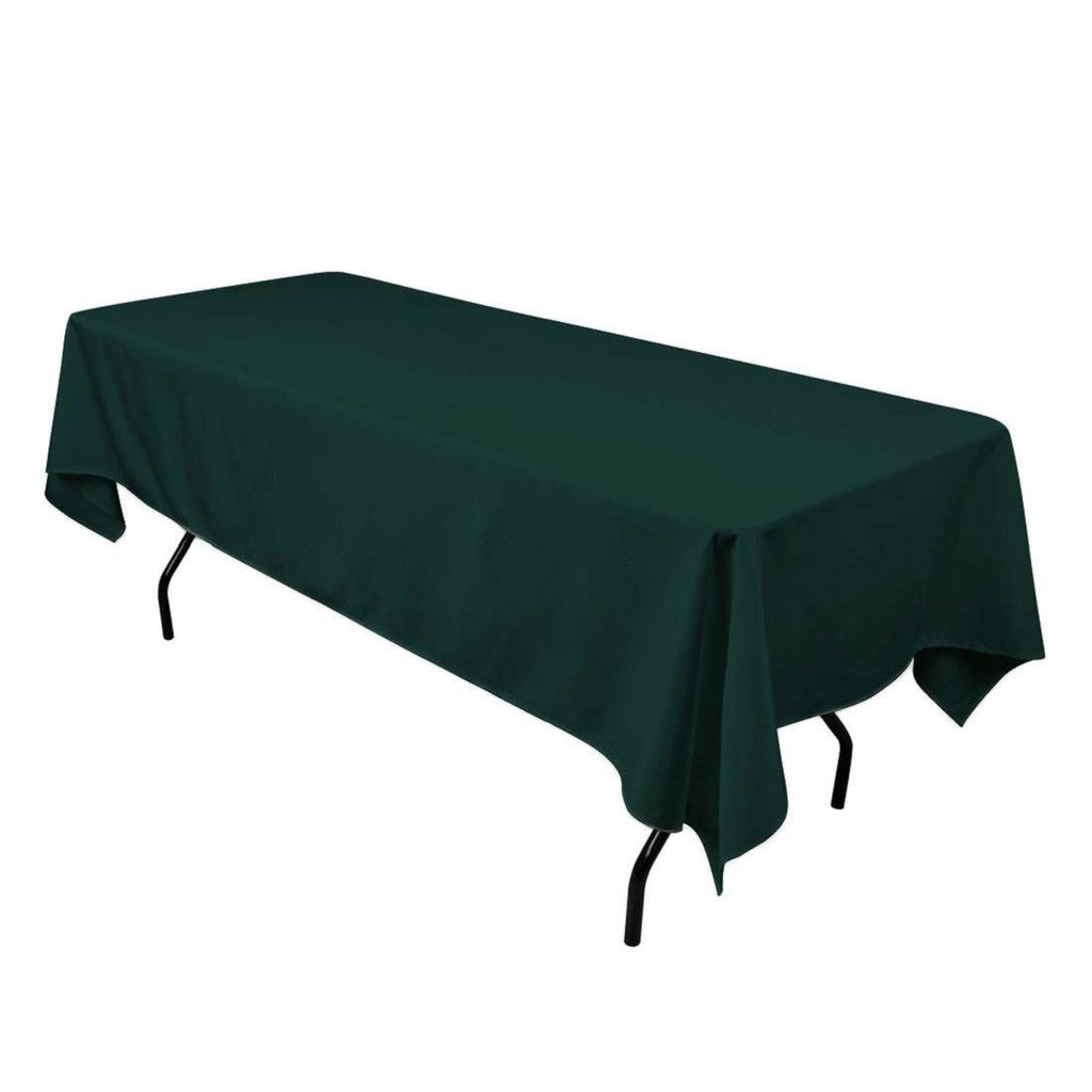 "Rectangle Tablecloth - 60 x 102"" Inch - Hunter Green Rectangular Table Cloth for 6 Foot Table in Washable Polyester - Great for Buffet Table, Parties, Holiday Dinner, Wedding & More"