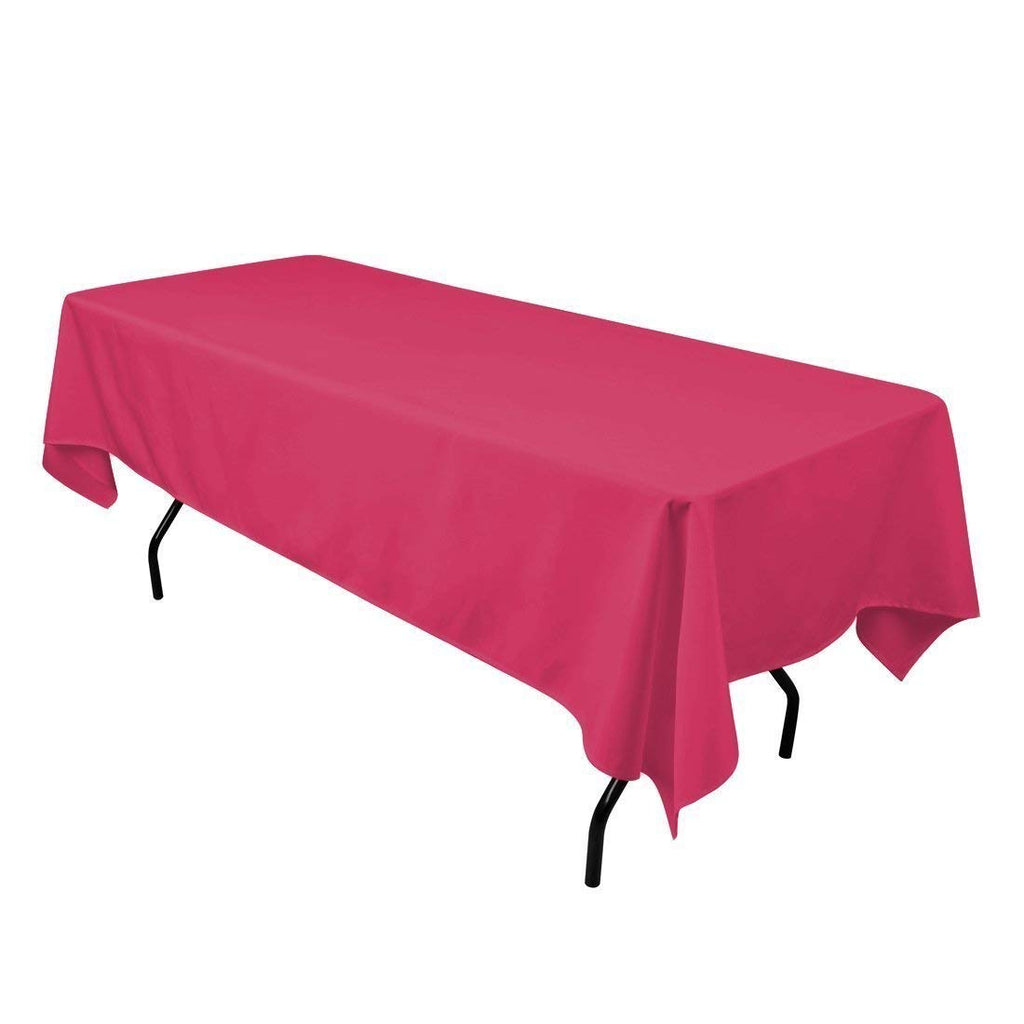 "Rectangle Tablecloth - 60 x 102"" Inch - Fuchsia Rectangular Table Cloth for 6 Foot Table in Washable Polyester - Great for Buffet Table, Parties, Holiday Dinner, Wedding & More"