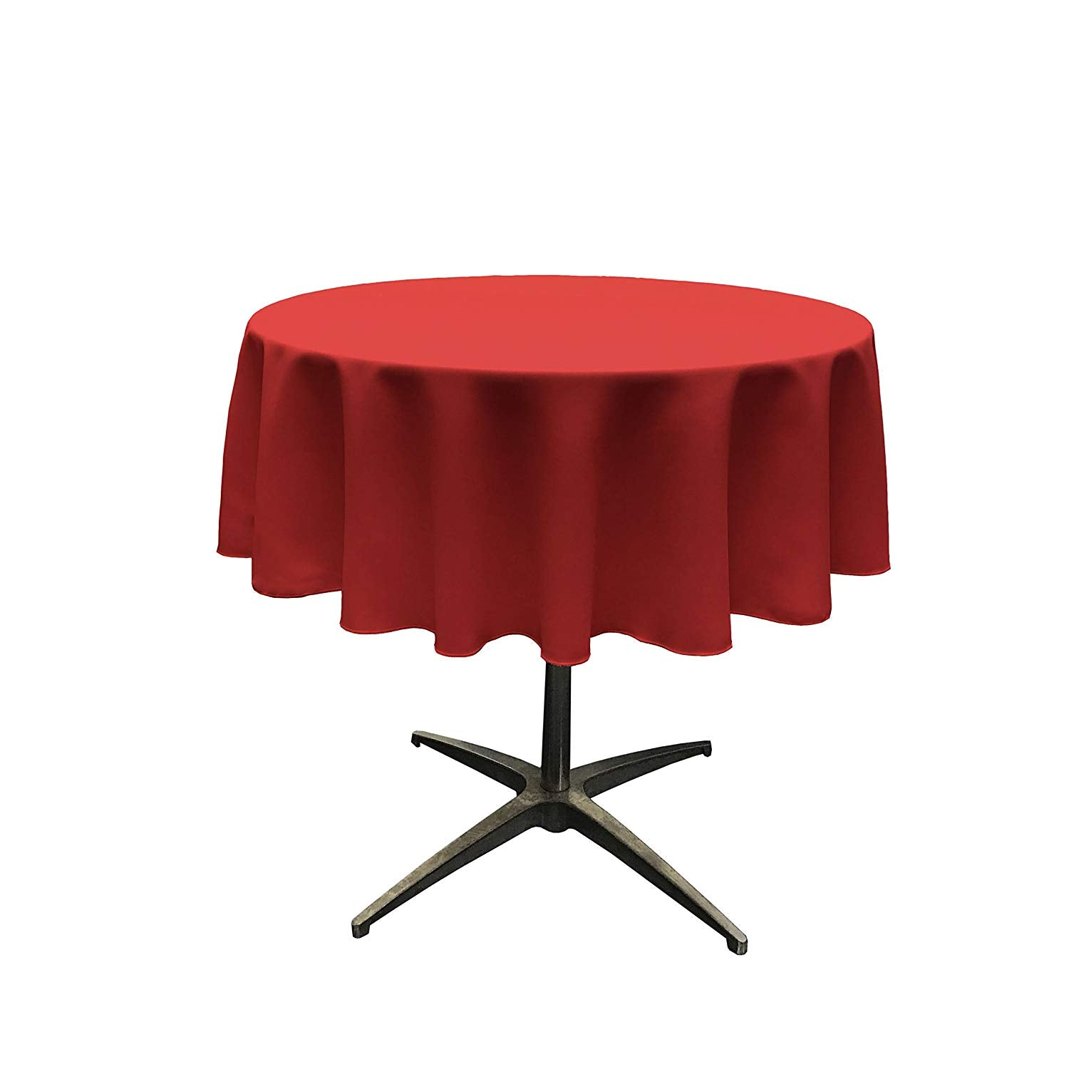 Polyester Poplin Tablecloth 51-Inch Round, Red - KINGDOM OF FABRICS