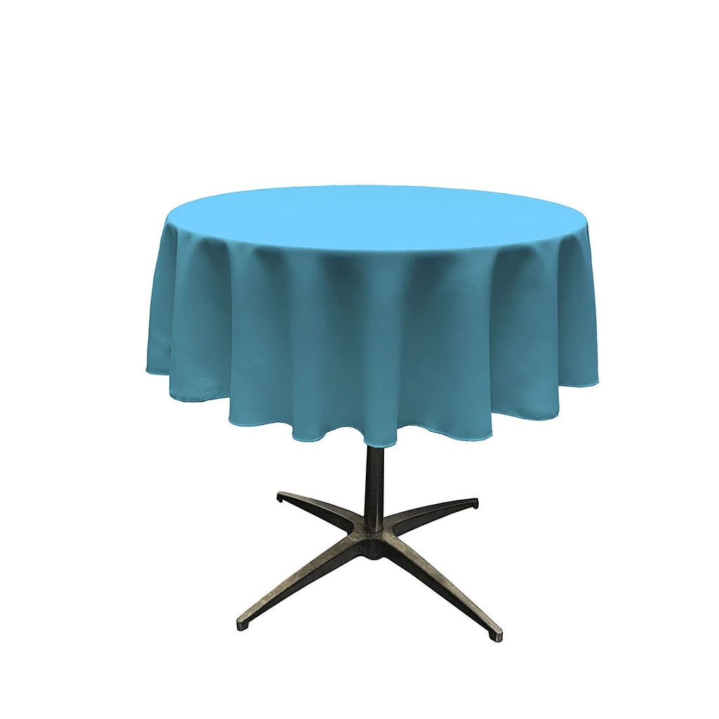 Polyester Poplin Tablecloth 51-Inch Round, Turquoise - KINGDOM OF FABRICS