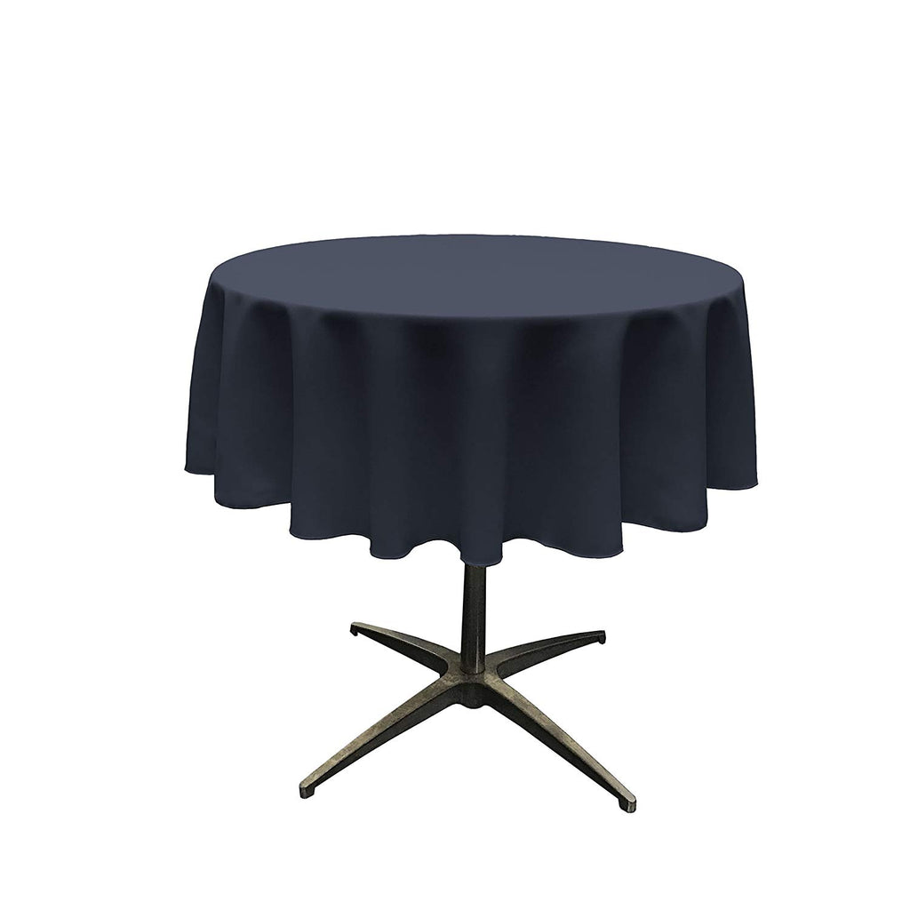 Polyester Poplin Tablecloth 51-Inch Round, Navy - KINGDOM OF FABRICS