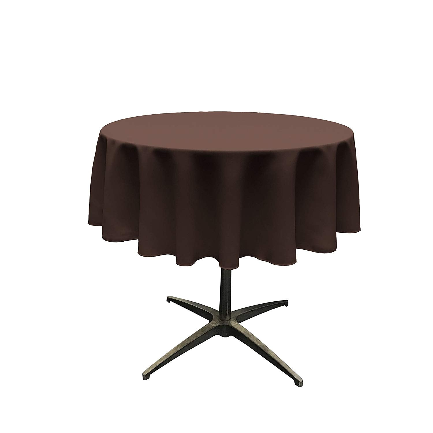 Polyester Poplin Tablecloth 51-Inch Round, Brown