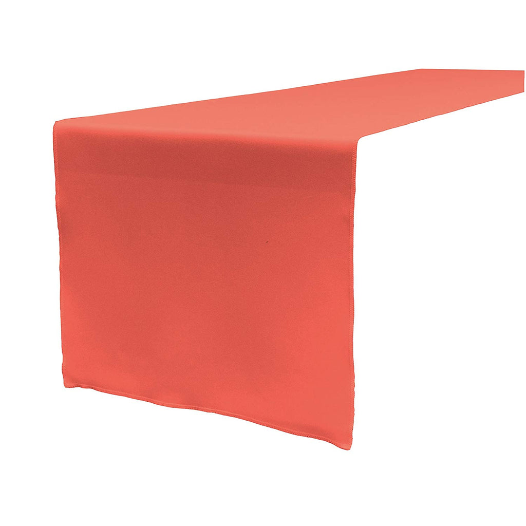 Polyester Poplin Table Runner 12 by 72-Inch, Coral - KINGDOM OF FABRICS