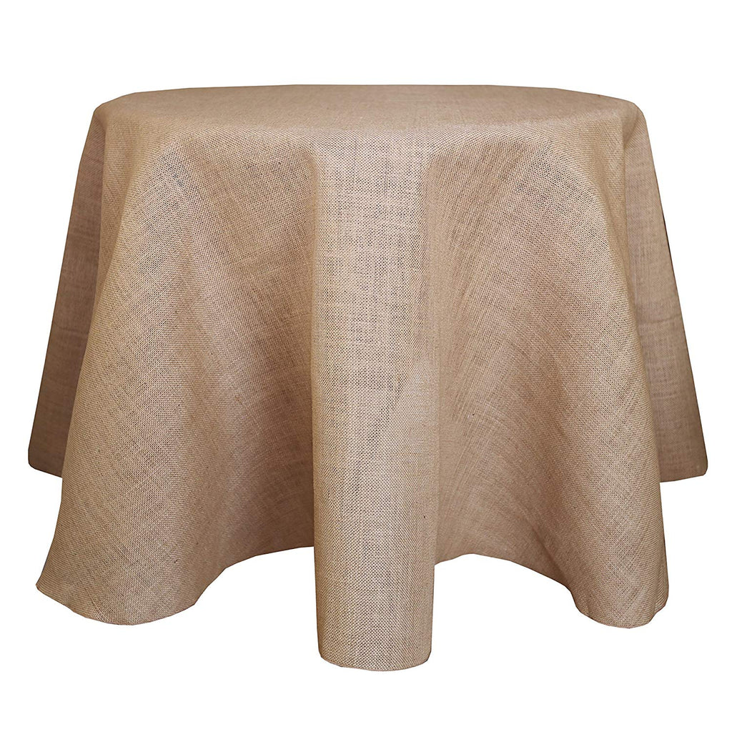 Burlap Round Jute Tablecloth Natural Great for Buffet Table, Parties, Choose Size  Below