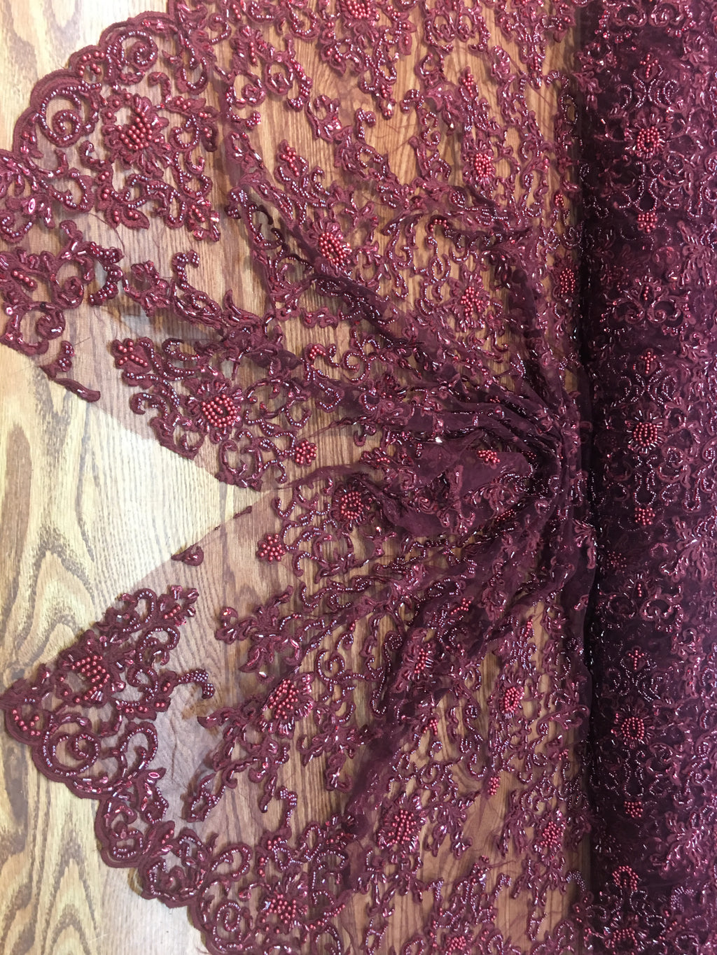 Burgundy Prom Beaded Fabric Wedding Mesh Shop Mesh Lace Beaded Fabric By The Yard Lace Heavy Beads For Bridal Veil Fashion Fabric - KINGDOM OF FABRICS