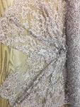 Dusty Rose Prom Beaded Fabric Wedding Mesh Shop Mesh Lace Beaded Fabric By The Yard Lace Heavy Beads For Bridal Veil Fashion Fabric