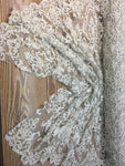 Champagne Prom Beaded Fabric Wedding Mesh Shop Mesh Lace Beaded Fabric By The Yard Lace Heavy Beads For Bridal Veil Fashion Fabric - KINGDOM OF FABRICS