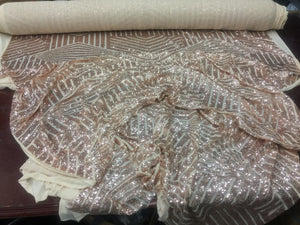 Sequins Fabric - Geometric Diamond Sequin Shiny blush pink Mesh Lace By The Yard 4-way stretch - KINGDOM OF FABRICS