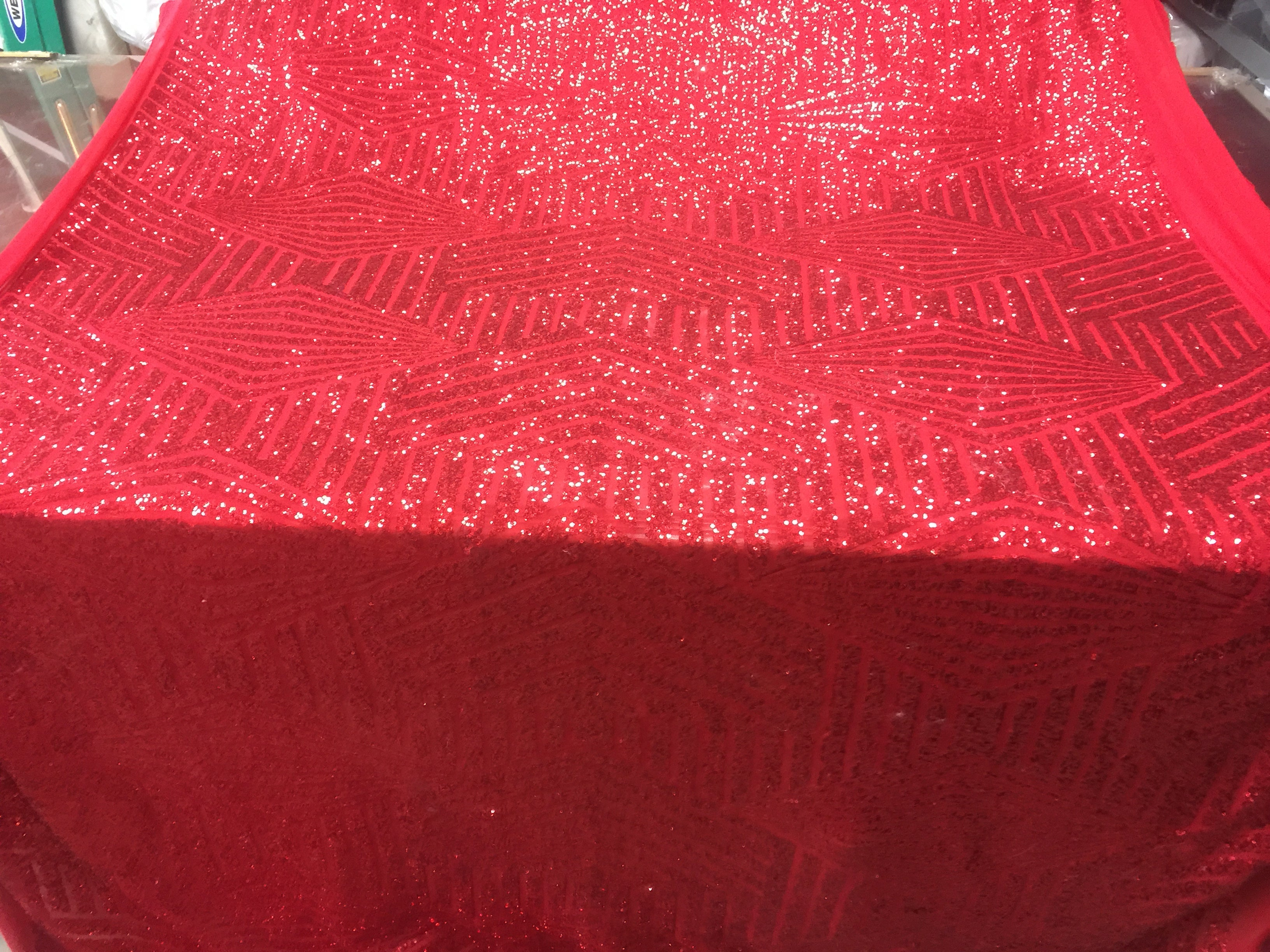 Sequins Fabric - Geometric Diamond Sequin Shiny Luxury Red Mesh Lace By The Yard 4-way stretch - KINGDOM OF FABRICS