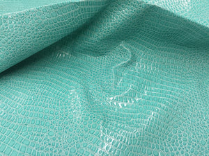 SHINY CROCODILE EMBOSSED FAUX LEATHER VINYL FABRIC MINT UPHOLSTERY BY YARD - KINGDOM OF FABRICS