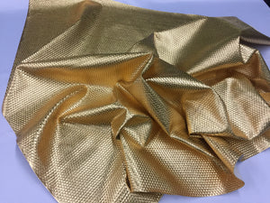LATTICE BASKET WEAVE UPHOLSTERY VINYL FABRIC - Gold - BY THE YARD PU LEATHER