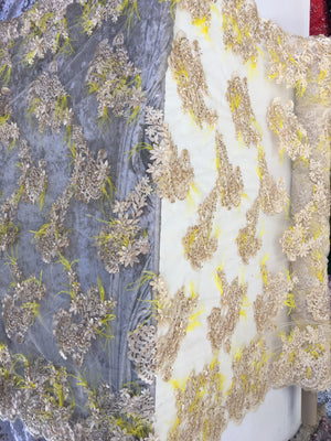 Feathered Bridal Beaded Fabric By Yard Gold Lace Heavy Beads For Bridal Veil Flower Mesh Dress Top Wedding Decoration With Yellow Feathers