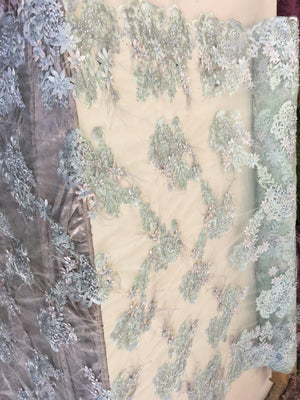 Feathered Bridal Beaded Fabric By Yard Mint/Pink Lace Heavy Beads For Bridal Veil Flower Mesh Dress Wedding Decoration With Mint Feathers