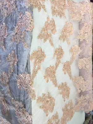 Feathered Bridal Beaded Fabric By Yard Peach Lace Heavy Beads For Bridal Veil Flower Mesh Dress Top Wedding Decoration With Peach Feathers