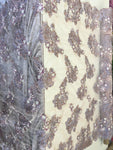 Feathered Bridal Beaded Fabric By Yard Blush/Lilac Lace Heavy Beads For Bridal Veil Flower Mesh Dress Wedding Decoration With Blush Feathers