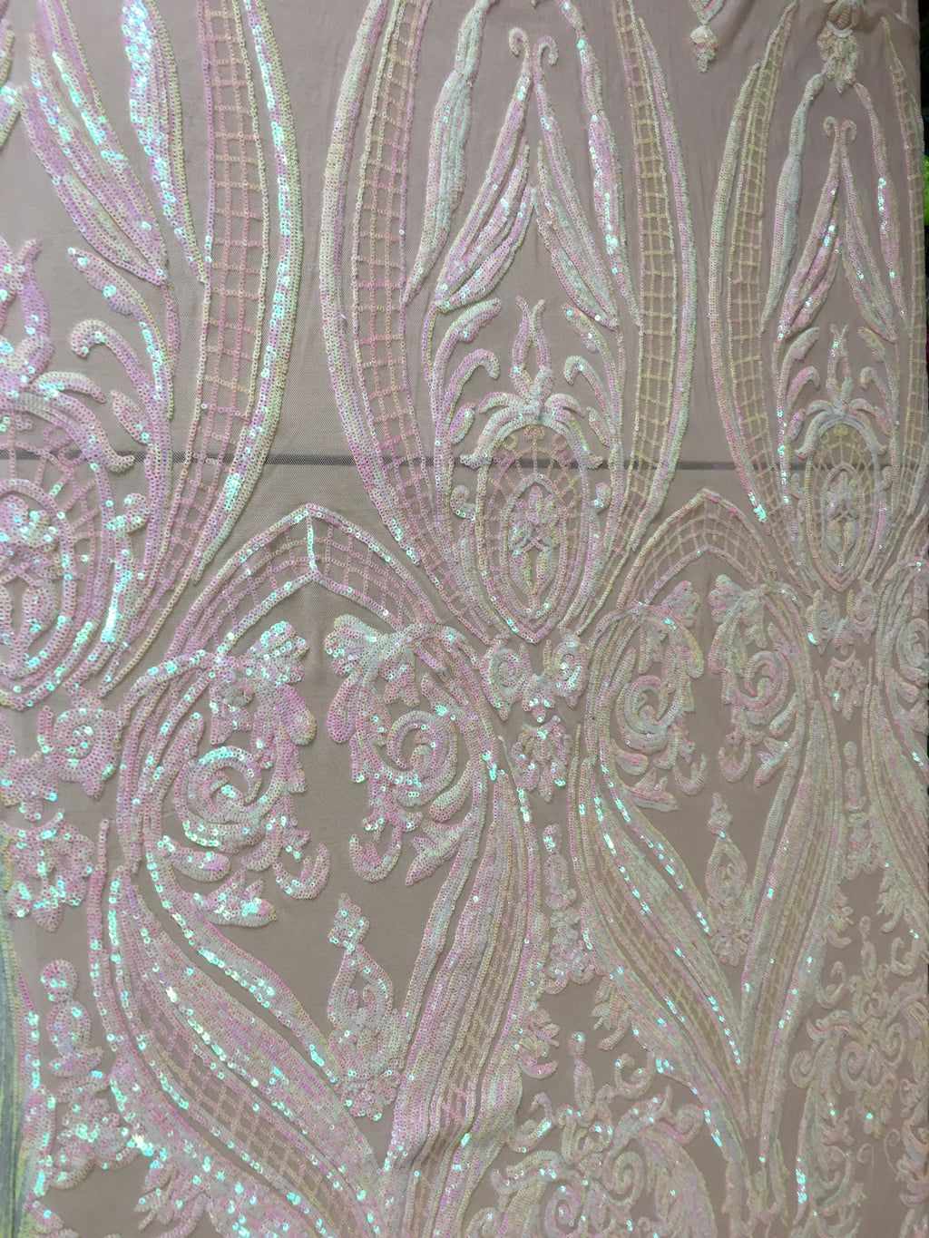 Egyptian Scarab Pincers Design Nude/Iridescent Pink Sequins 4 way Stretch Wedding Prom Fabric Dresses Sold By The Yard