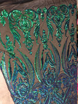 Egyptian Scarab Pincers Design Black/Green Sequins 4 way Stretch Wedding Prom Fabric Dresses Sold By The Yard