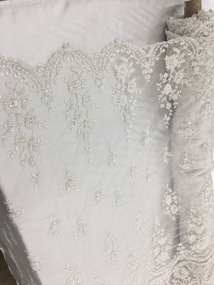 The Queens Bridal Beaded Fabric By The Yard White Lace Heavy Beads For Bridal Veil Flower Mesh Dress Top Wedding Decoration