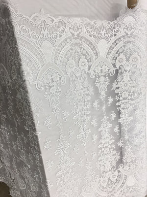 Iron Dome Designs Bridal Beaded Fabric By The Yard White Lace Heavy Beads For Bridal Veil Flower Mesh Dress Top Wedding Decoration