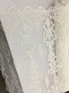 Acacia Key Designs Bridal Beaded Fabric By The Yard Ivory Lace Heavy Beads For Bridal Veil Flower Mesh Dress Top Wedding Decoration