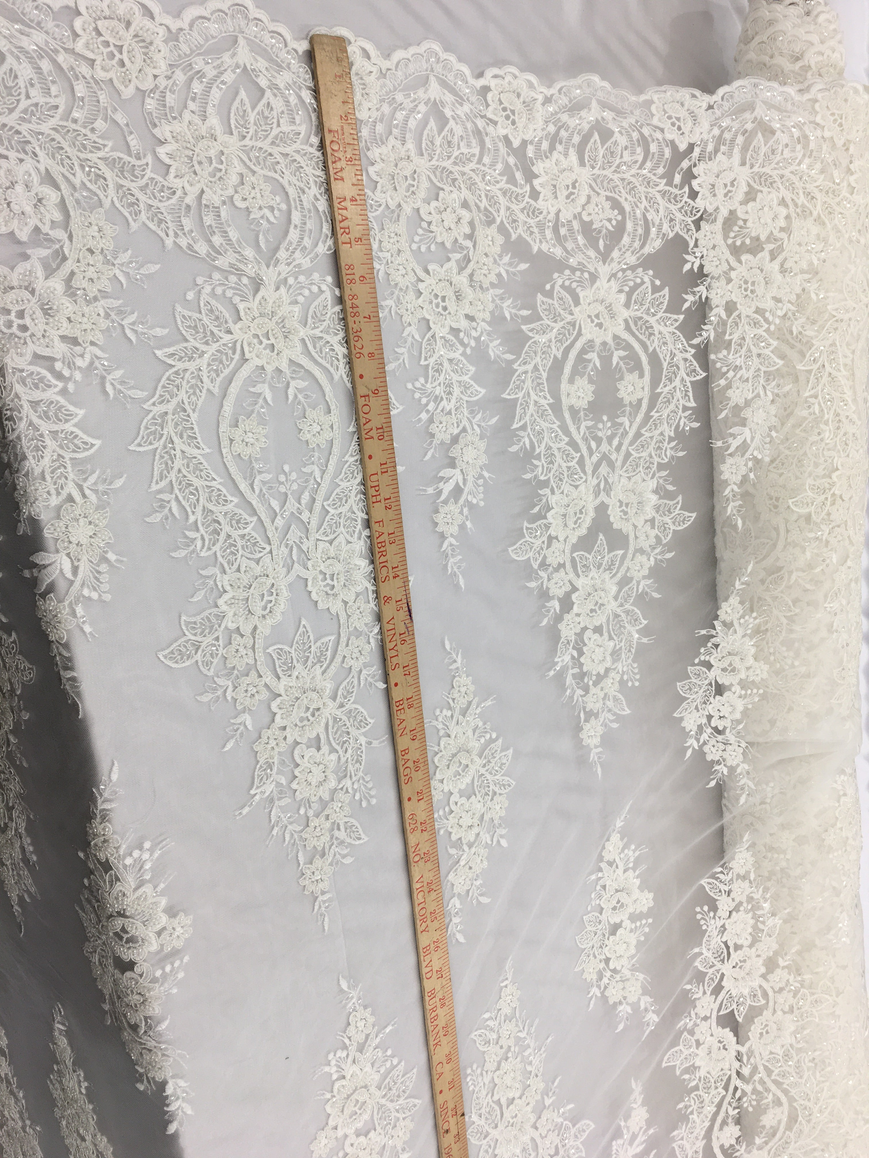 Lamp Designs Bridal Beaded Fabric By The Yard Ivory Lace Heavy Beads For Bridal Veil Flower Mesh Dress Top Wedding Decoration