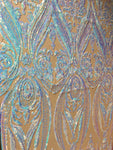 Egyptian Scarab Pincers Design Nude/Blue Iridescent Sequins 4 way Stretch Wedding Prom Fabric Dresses Sold By The Yard