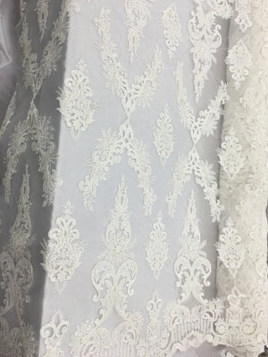 Spear Designs Bridal Beaded Fabric By The Yard Ivory Lace Heavy Beads For Bridal Veil Flower Mesh Dress Top Wedding Decoration
