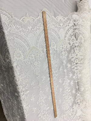 Iron Dome Designs Bridal Beaded Fabric By The Yard Ivory Lace Heavy Beads For Bridal Veil Flower Mesh Dress Top Wedding Decoration