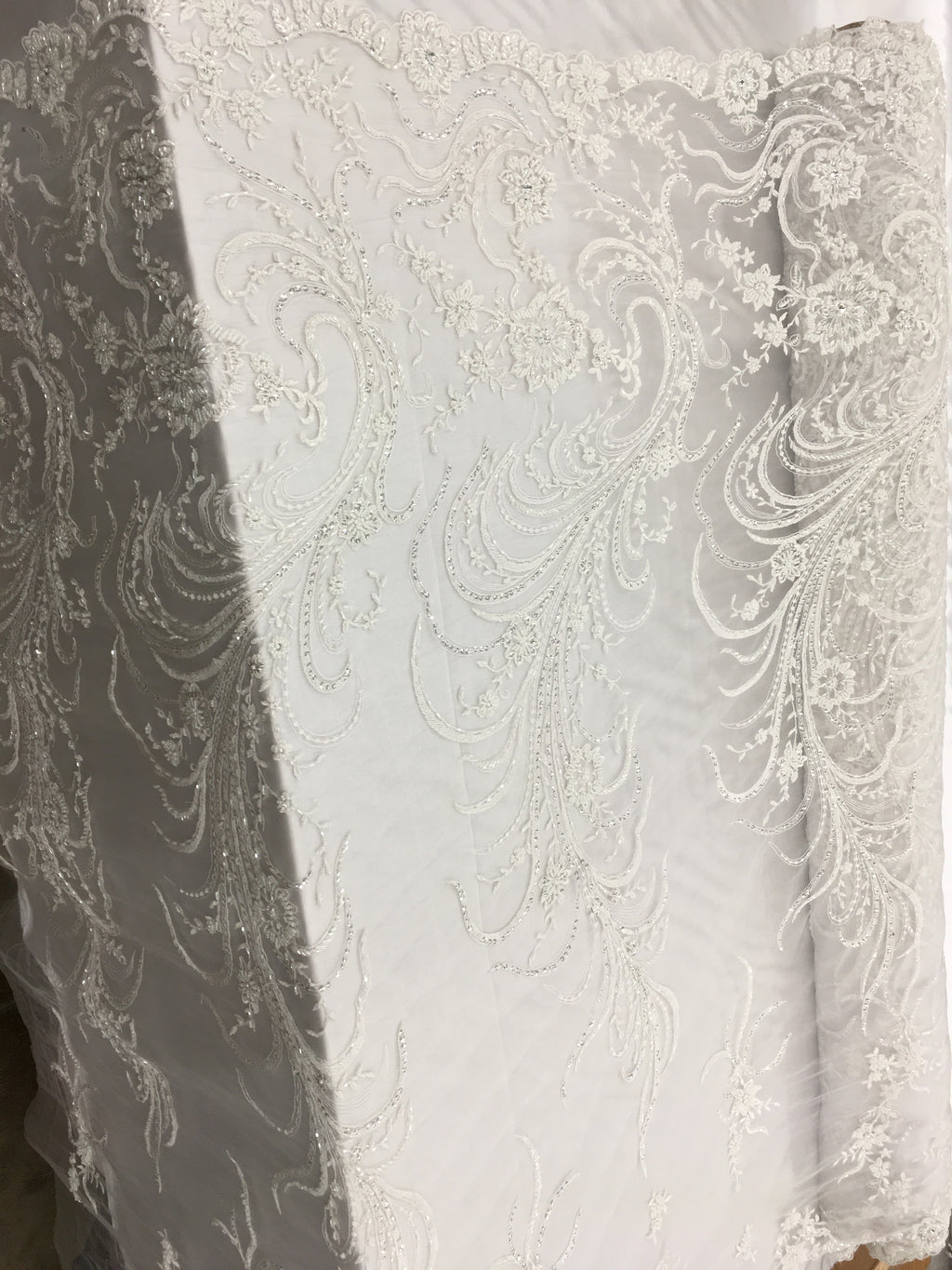 Rooster Tail Designs Bridal Beaded Fabric By The Yard White Lace Heavy Beads For Bridal Veil Flower Mesh Dress Top Wedding Decoration