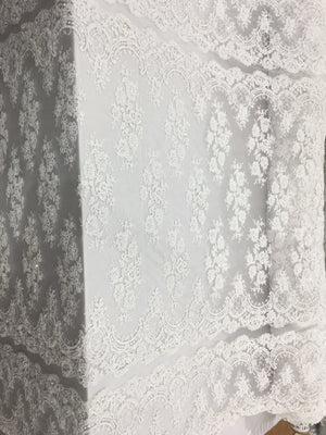 Double Scallop Bridal Beaded Fabric By The Yard White Lace Heavy Beads For Bridal Veil Flower Mesh Dress Top Wedding Decoration