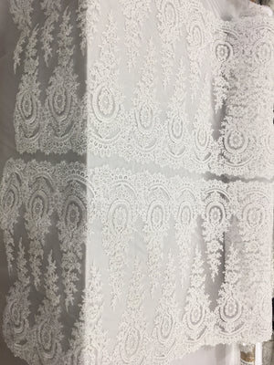 Luxurious Bridal Beaded Fabric By The Yard White Lace Heavy Beads For Bridal Veil Flower Mesh Dress Top Wedding Decoration