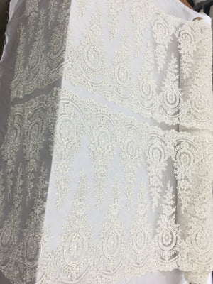 Luxurious Bridal Beaded Fabric By The Yard Ivory Lace Heavy Beads For Bridal Veil Flower Mesh Dress Top Wedding Decoration